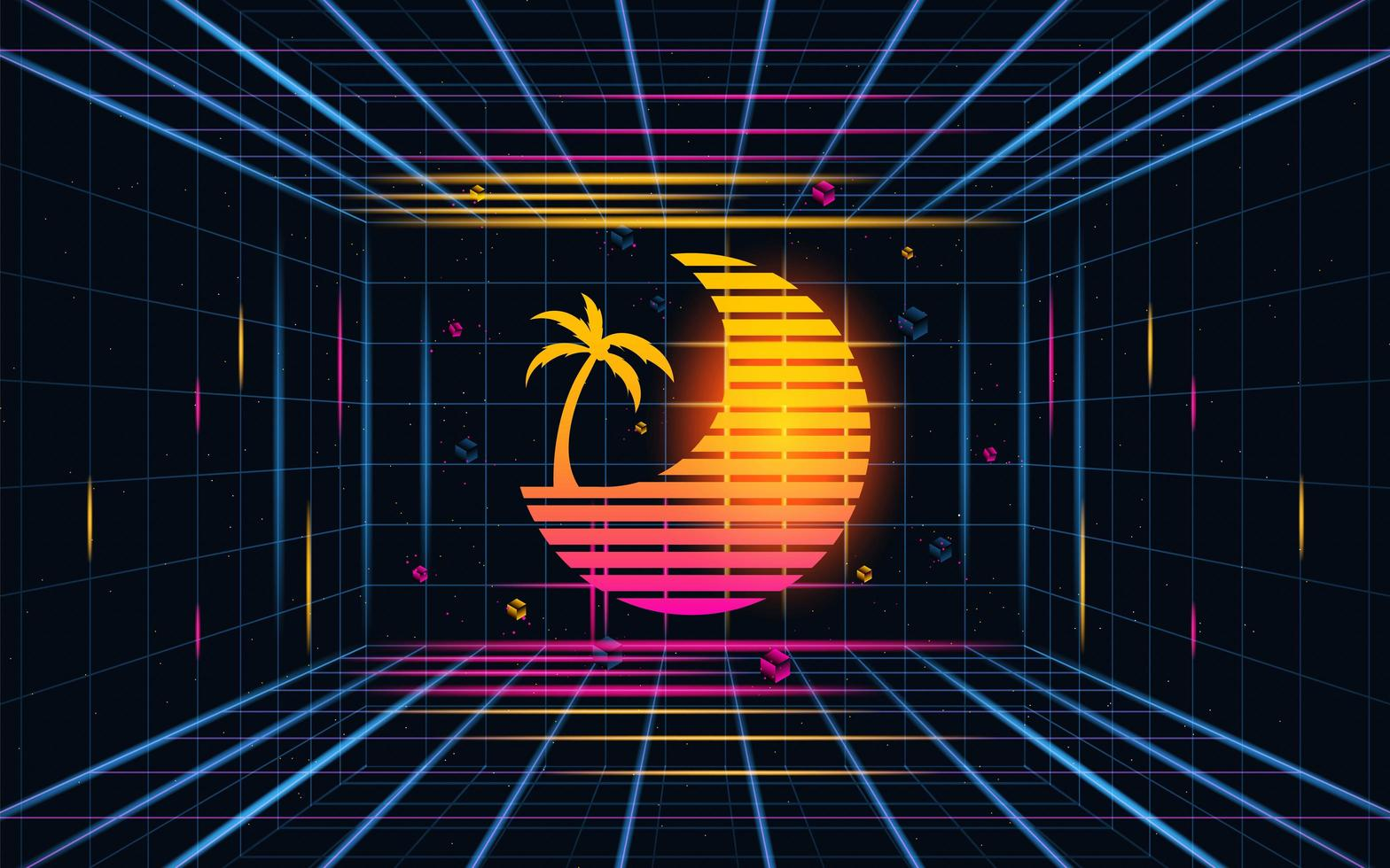 Futuristic grid sunset with coconut tree. Future theme concept background. vector