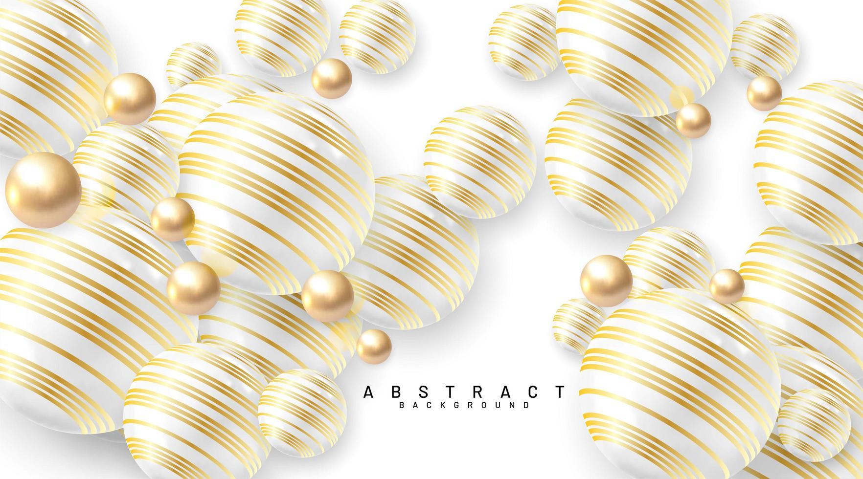 fondo abstracto con campos 3d. burbujas doradas y blancas. ilustración vectorial de una esfera con textura con un patrón de línea dorada. vector