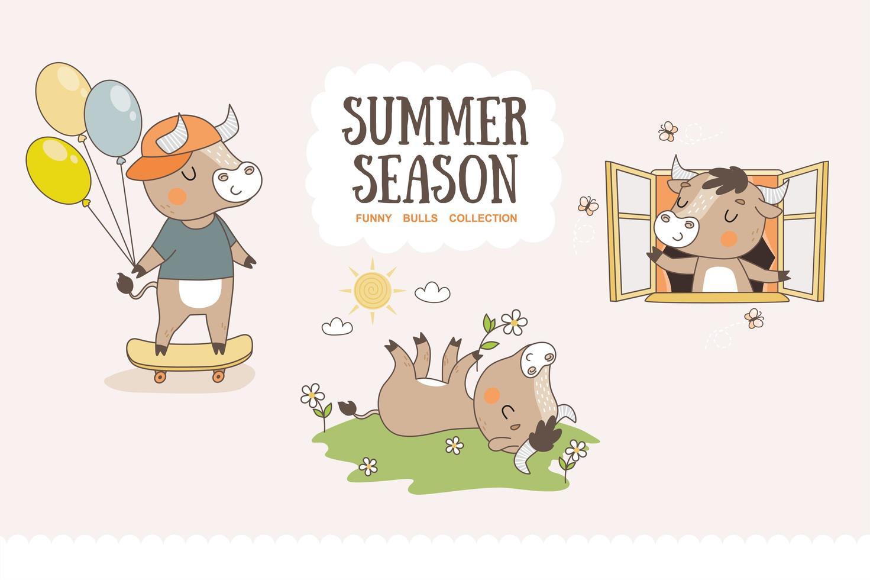 Cute cartoon bulls collection. Summer season characters stickers. vector