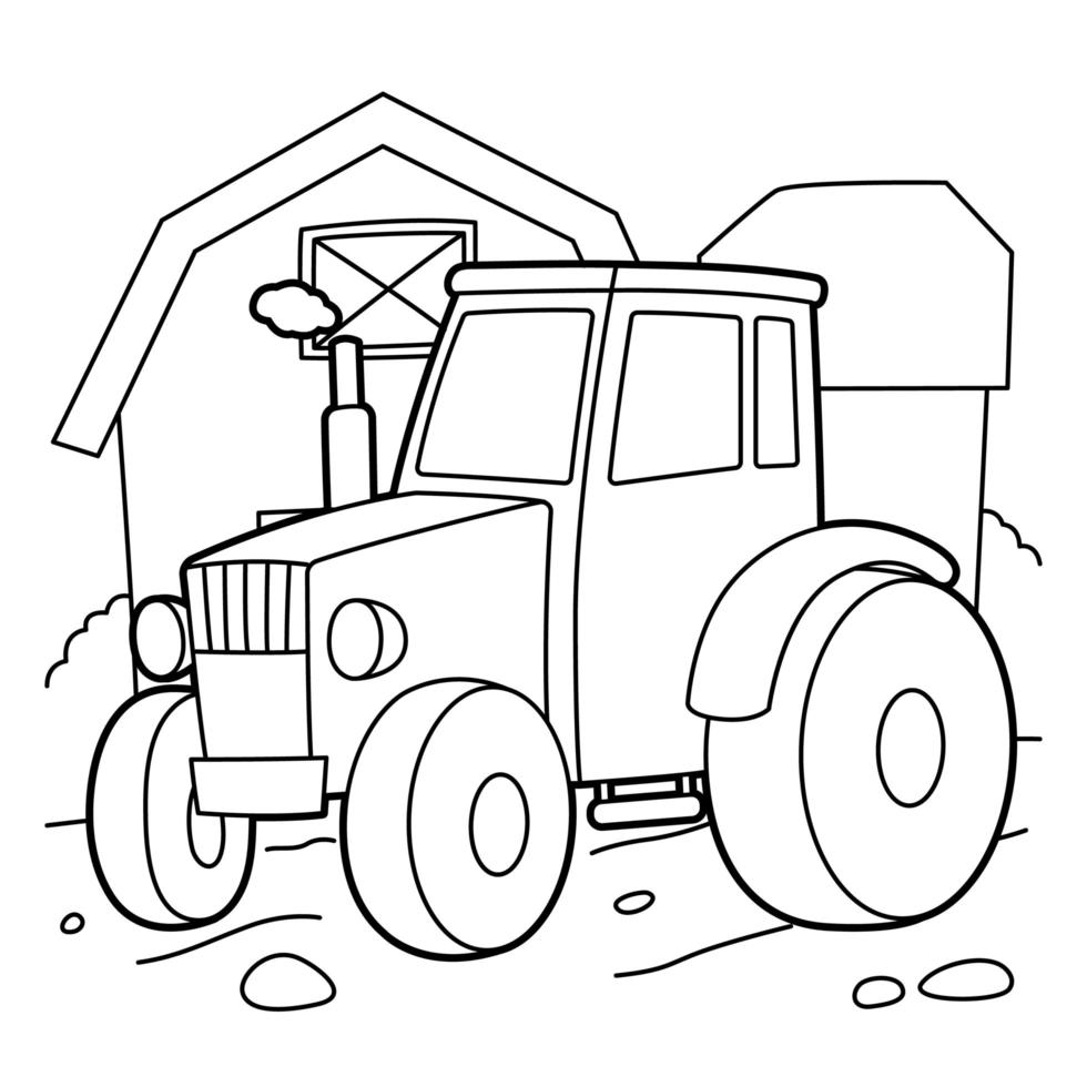 Tractor Coloring Page 1857275 Vector Art At Vecteezy