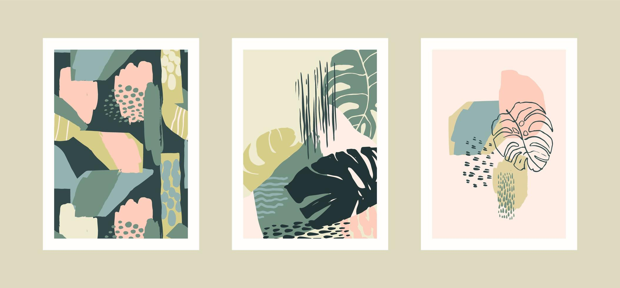 Collection of art prints with abstract tropical leaves. Modern design for posters, covers, cards, interior decor and other users. vector