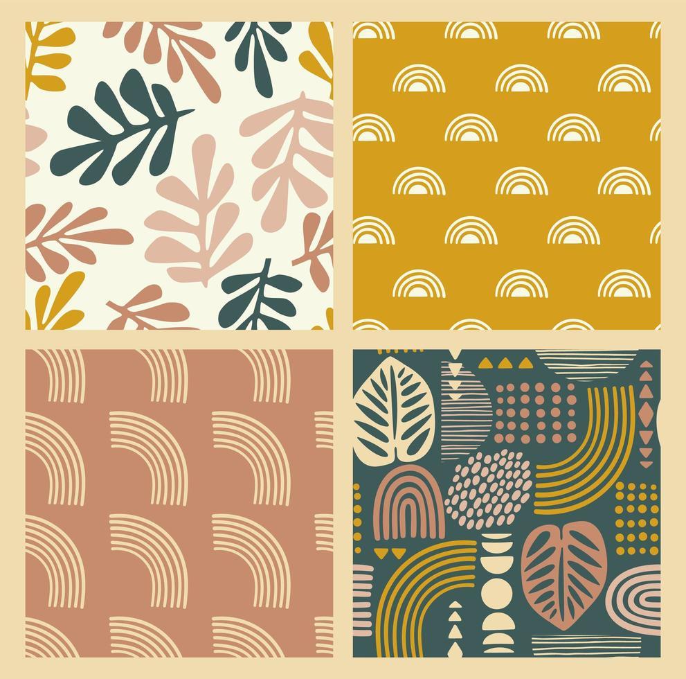 patrones sin fisuras artísticos con hojas abstractas y formas geométricas. diseño vectorial moderno vector