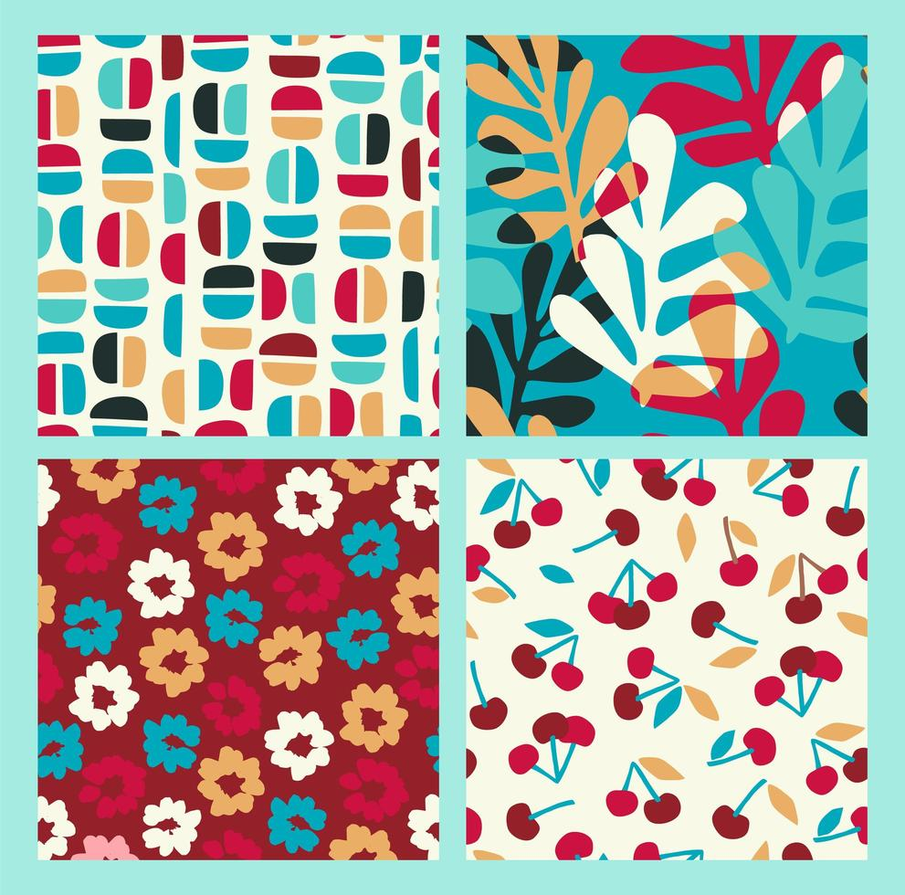 Abstract collection of seamless patterns with flowers, cherry and leaves and geometric shapes vector