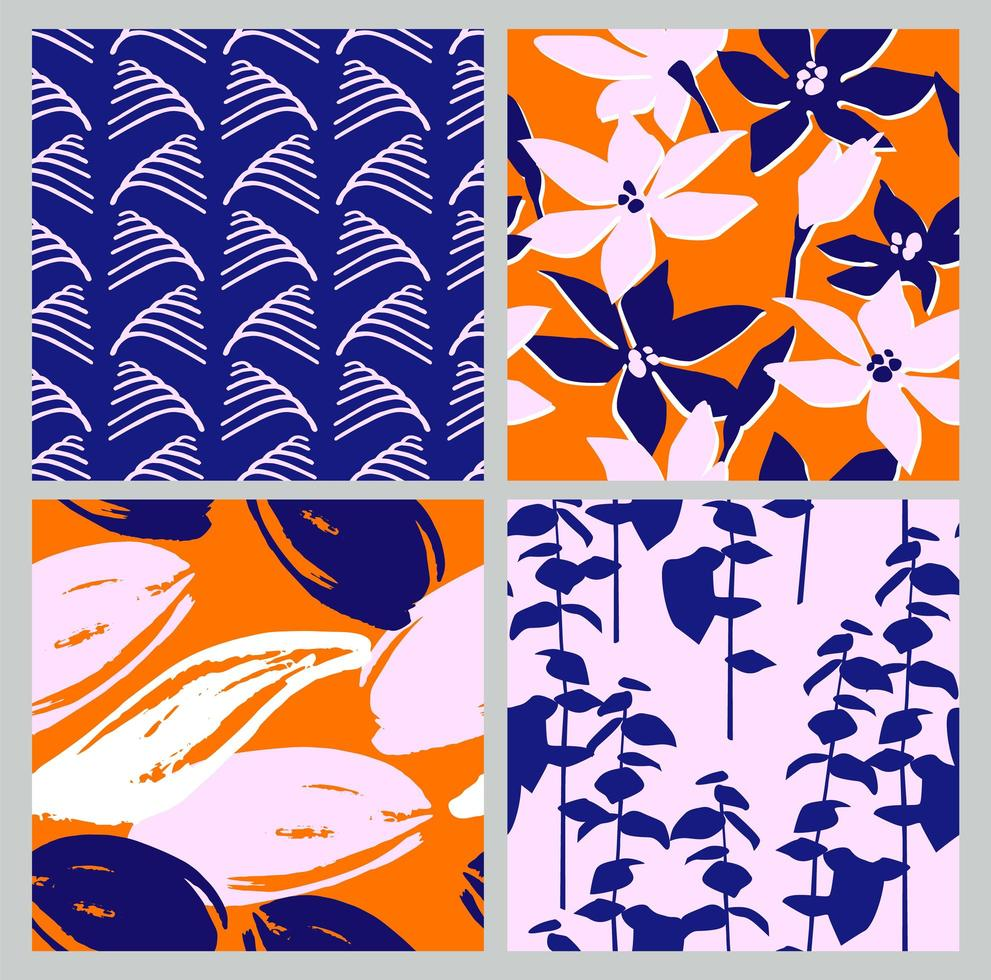Artistic set of seamless patterns with abstract flowers and leaves. vector