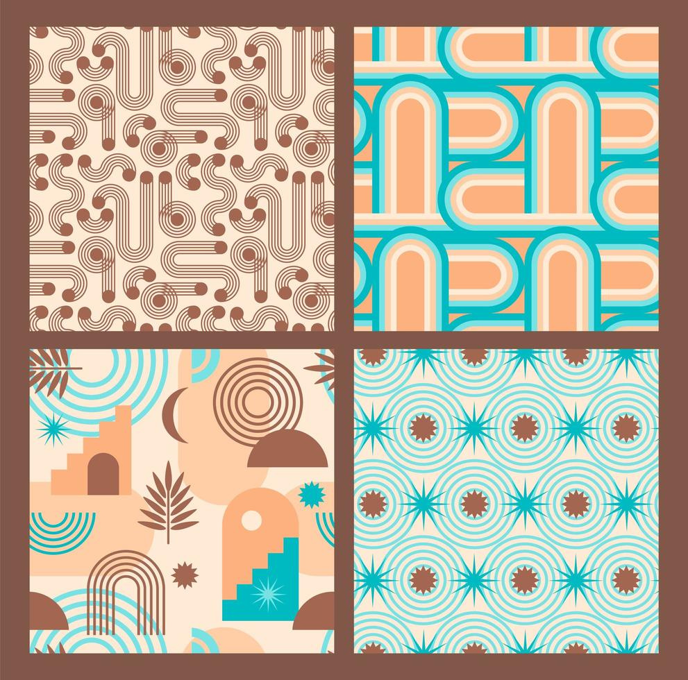 Abstract geometric collection of seamless patterns. Contemporary style. vector