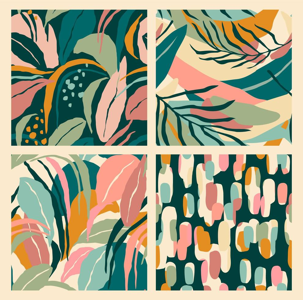 Abstract collection of seamless patterns with leaves and geometric shapes. vector
