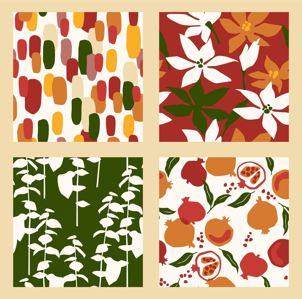 Abstract collection of seamless patterns with flowers, and leaves and pomegranates. Modern design vector