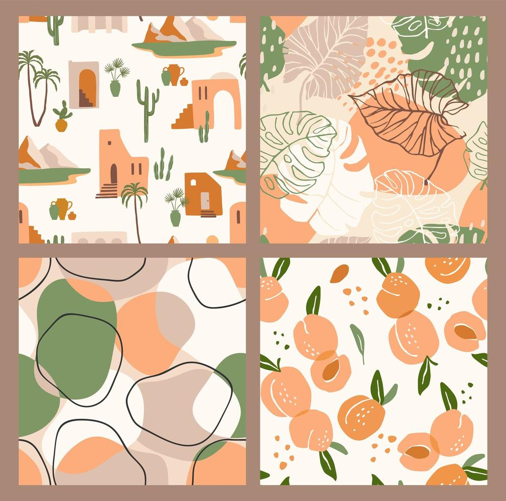 Abstract collection of seamless patterns with apricots, landscape, leaves and geometric shapes. Modern design vector
