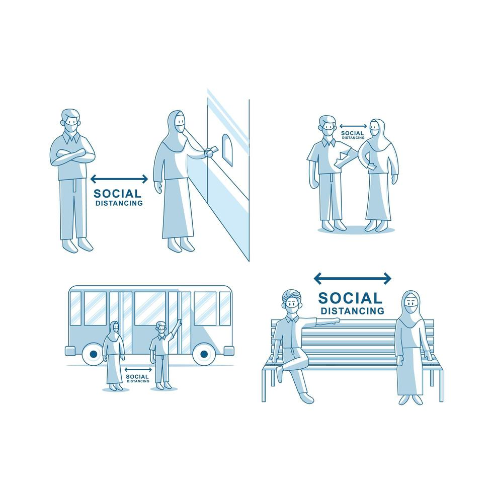 Social distancing concept. People wearing face mask Vector Set