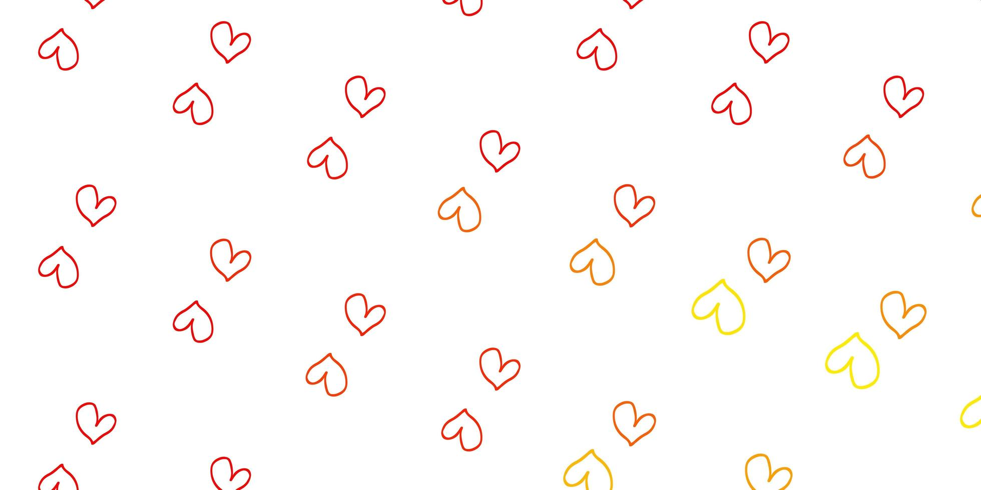 textura de vector rojo, amarillo claro con corazones encantadores.