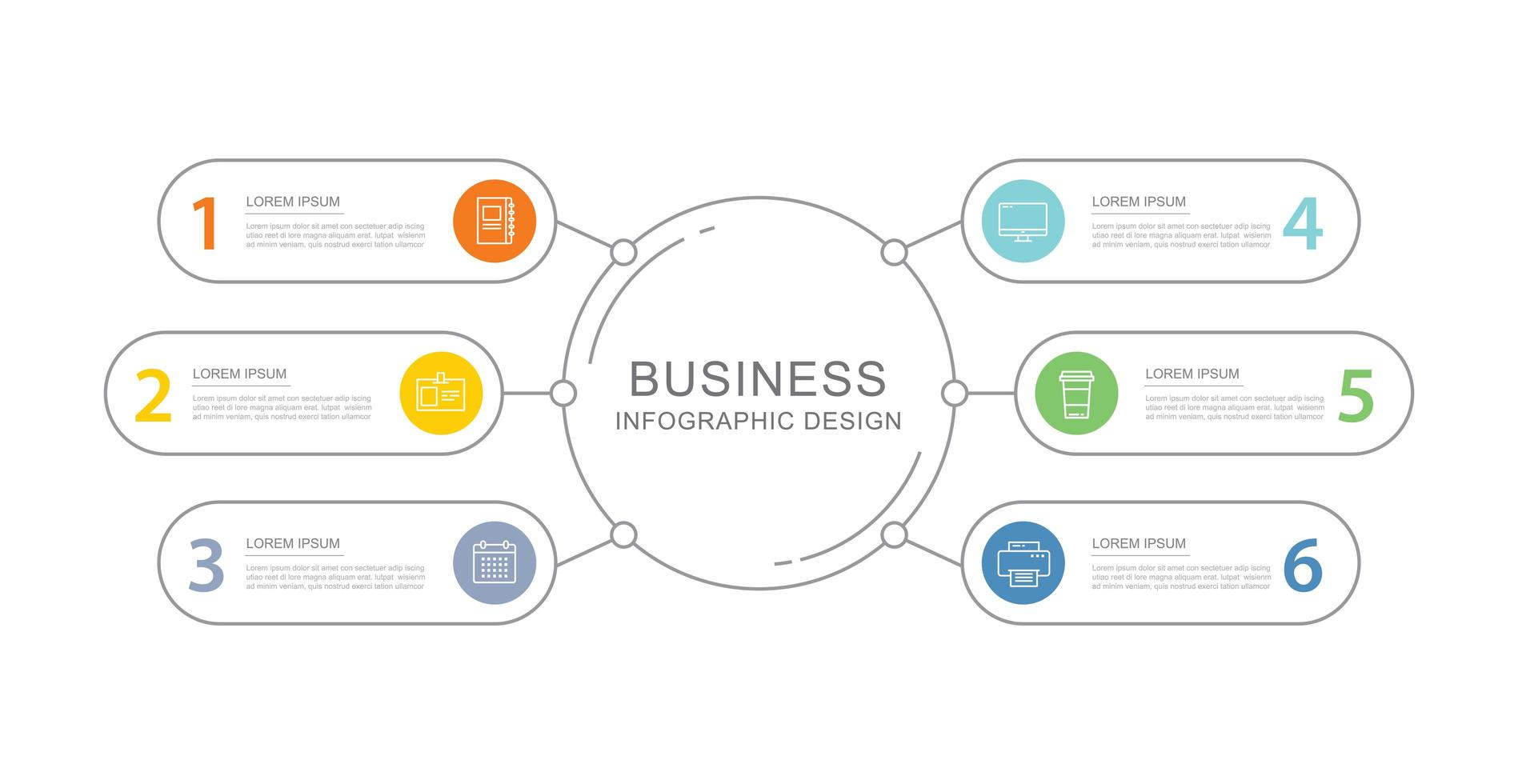 6 data business infographics template with thin line design vector