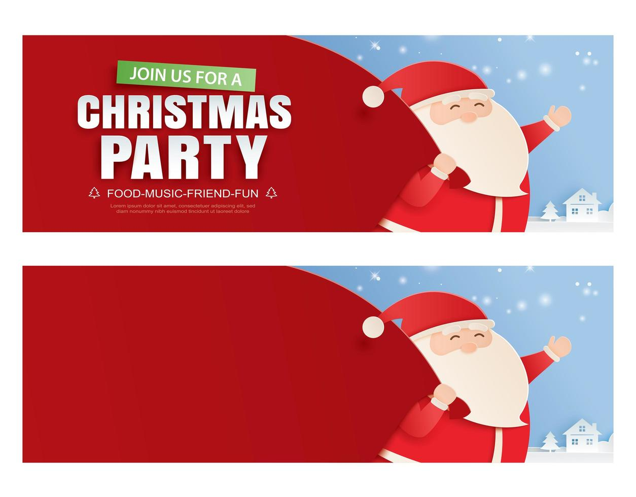 Santa Claus and a huge bag of gifts with Christmas party invitation card vector