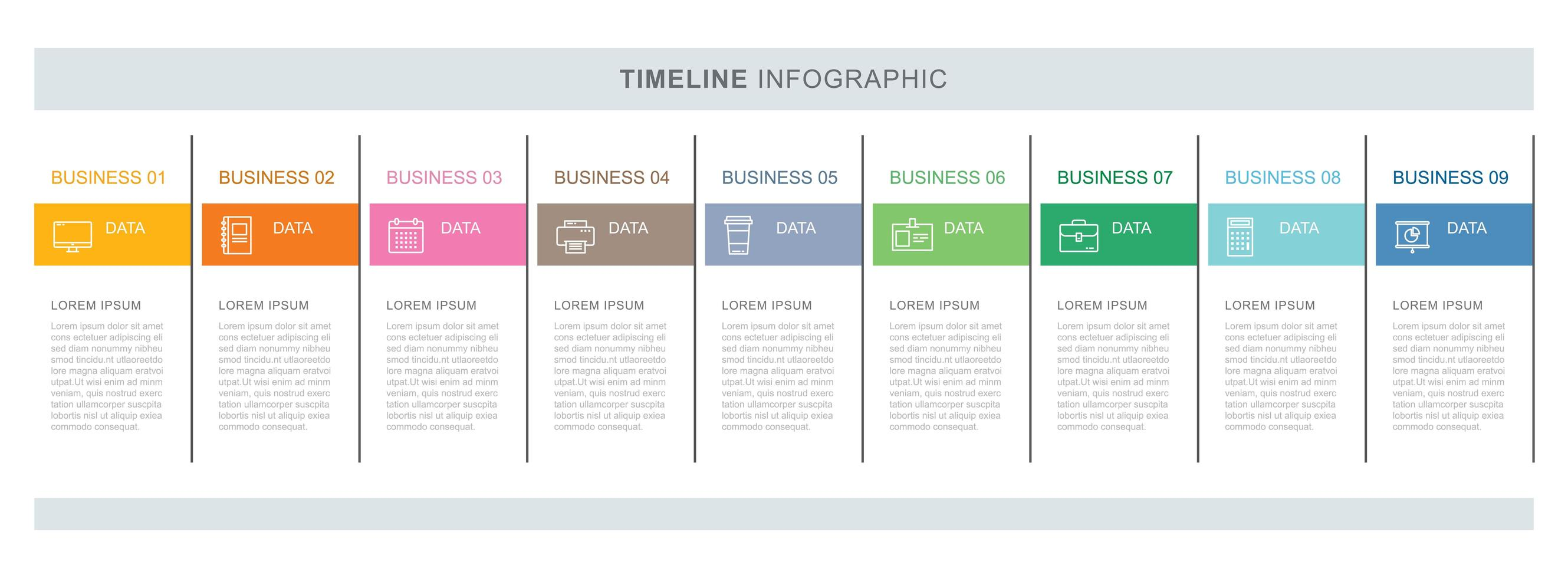 9 data business infographics template with thin line design vector