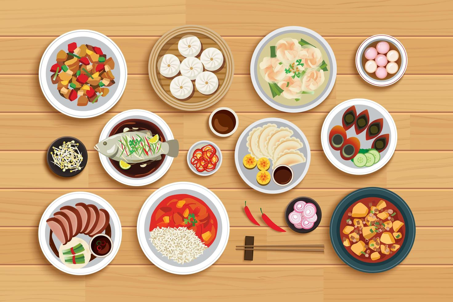 Chinese food on top view wooden background. vector