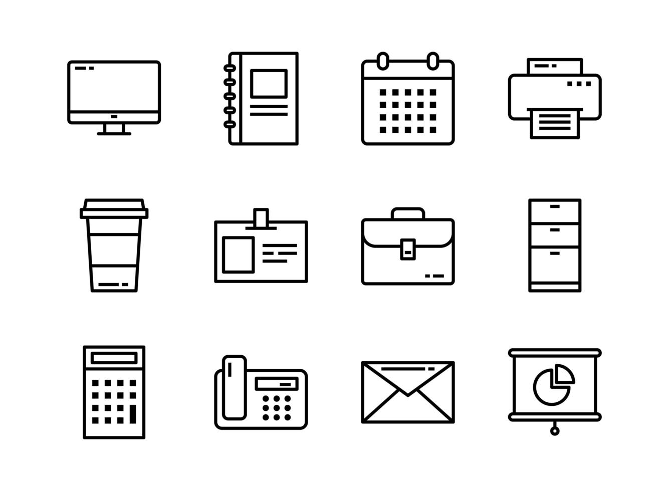 Office icon set outline style. Symbols for website, magazine, app and design. vector