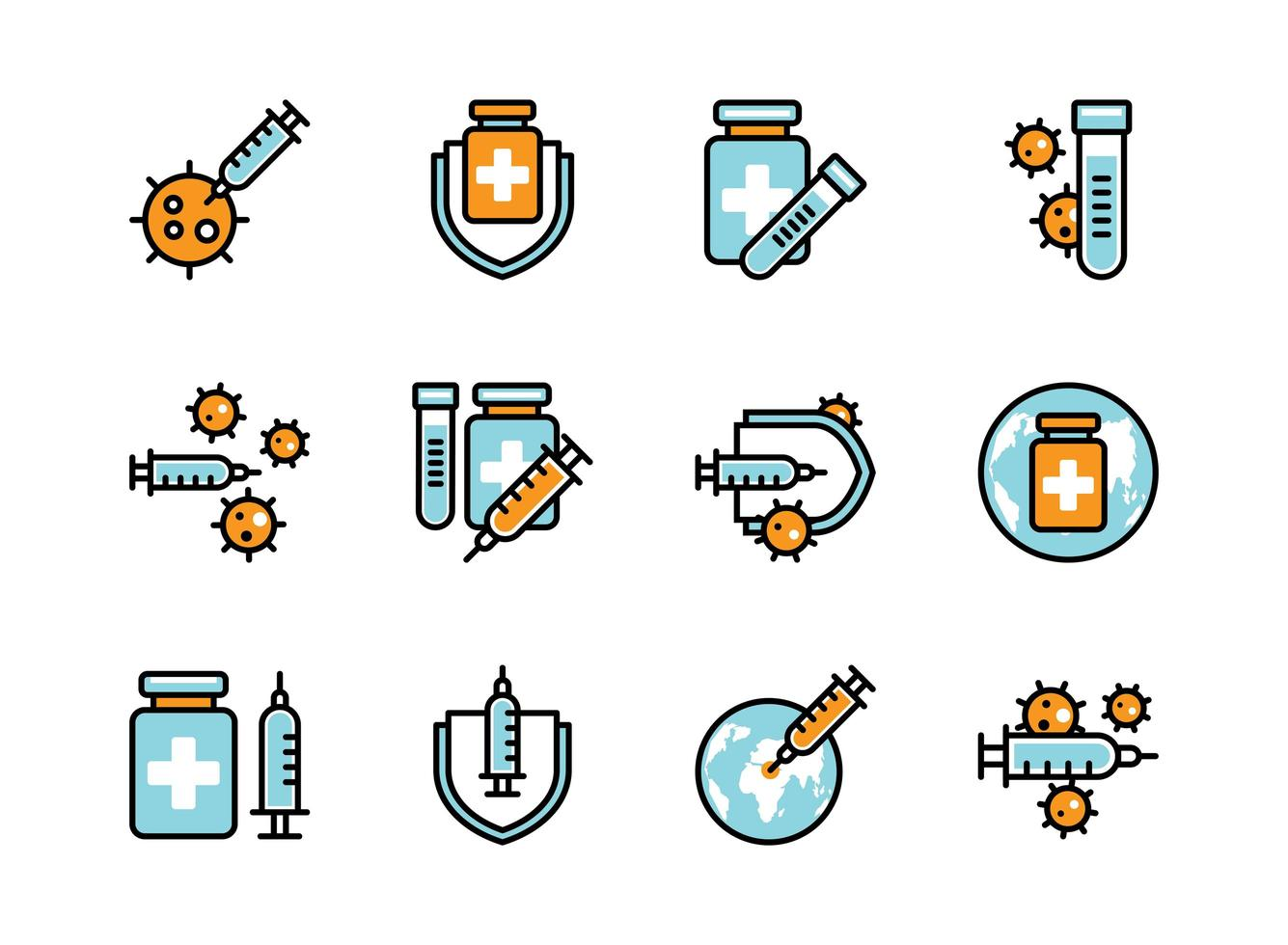 Covid-19 vaccine icon set colorline style. Sign and symbol for website, print, sticker, banner, poster. vector