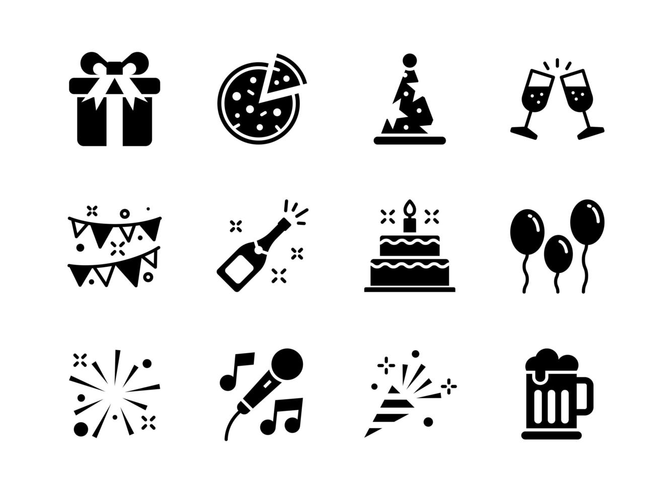 Party icon set glyph style. Symbols for website, print, magazine, app and design. vector
