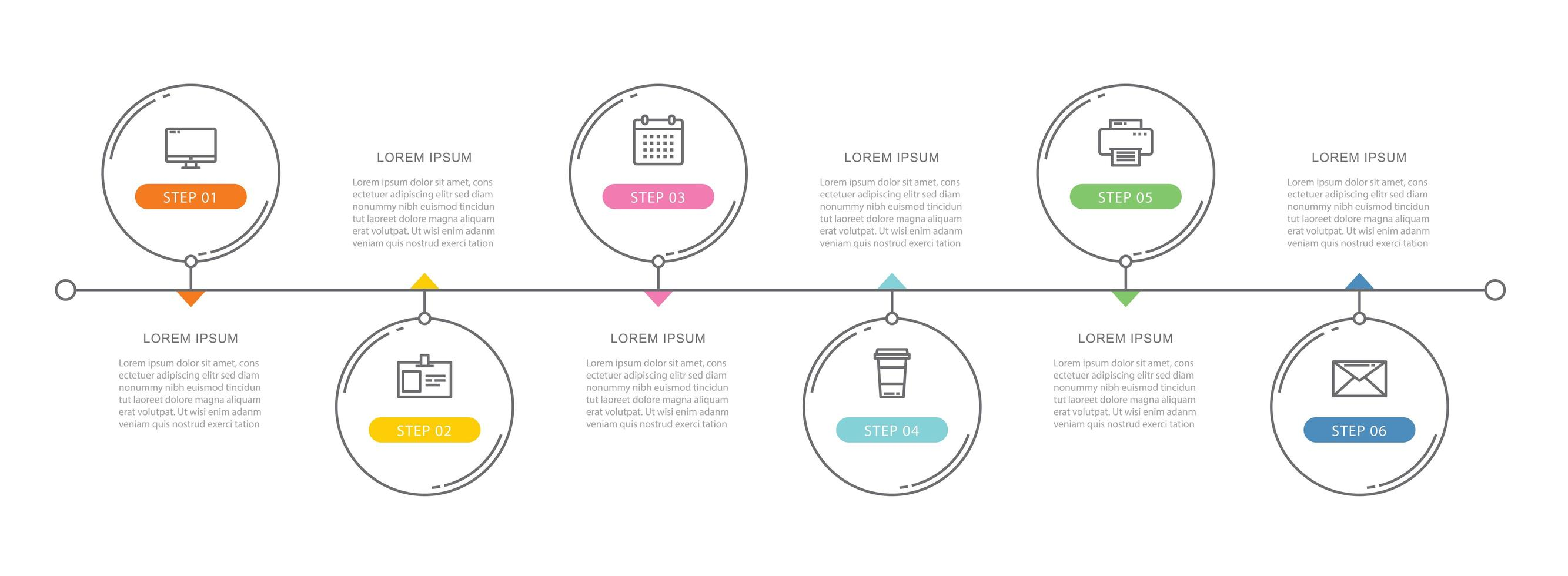 6 circle data timeline infographics template with thin line design vector