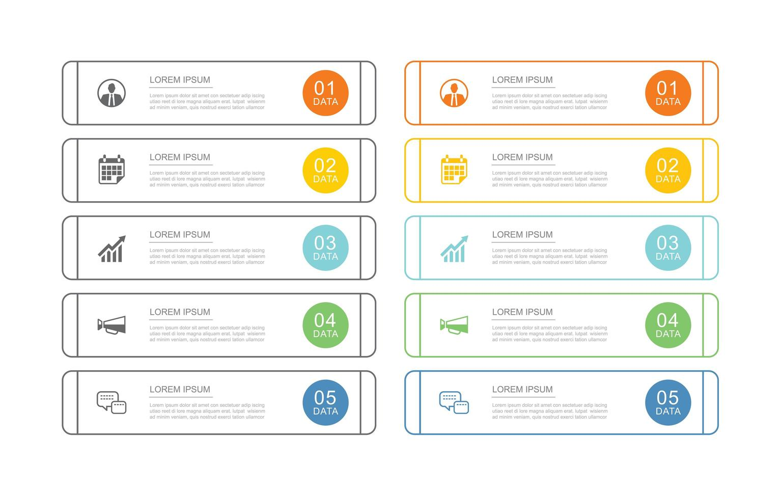 10 data business infographics template with thin line design vector