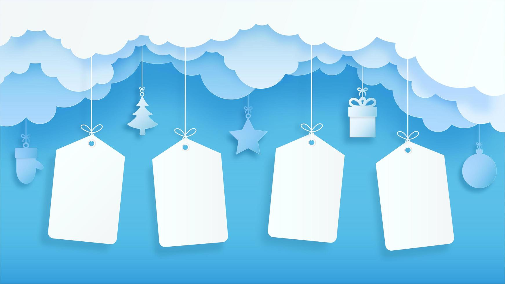 Winter and holiday season sale banner with blank tags vector