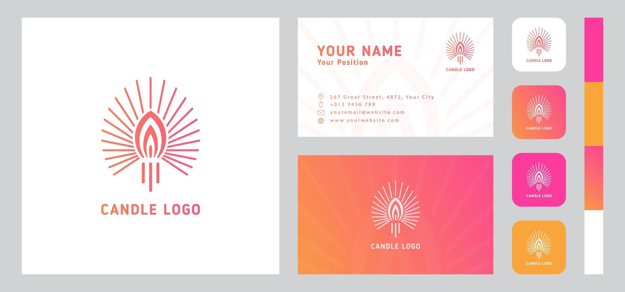 logotipo de vela con plantilla de tarjeta de visita vector
