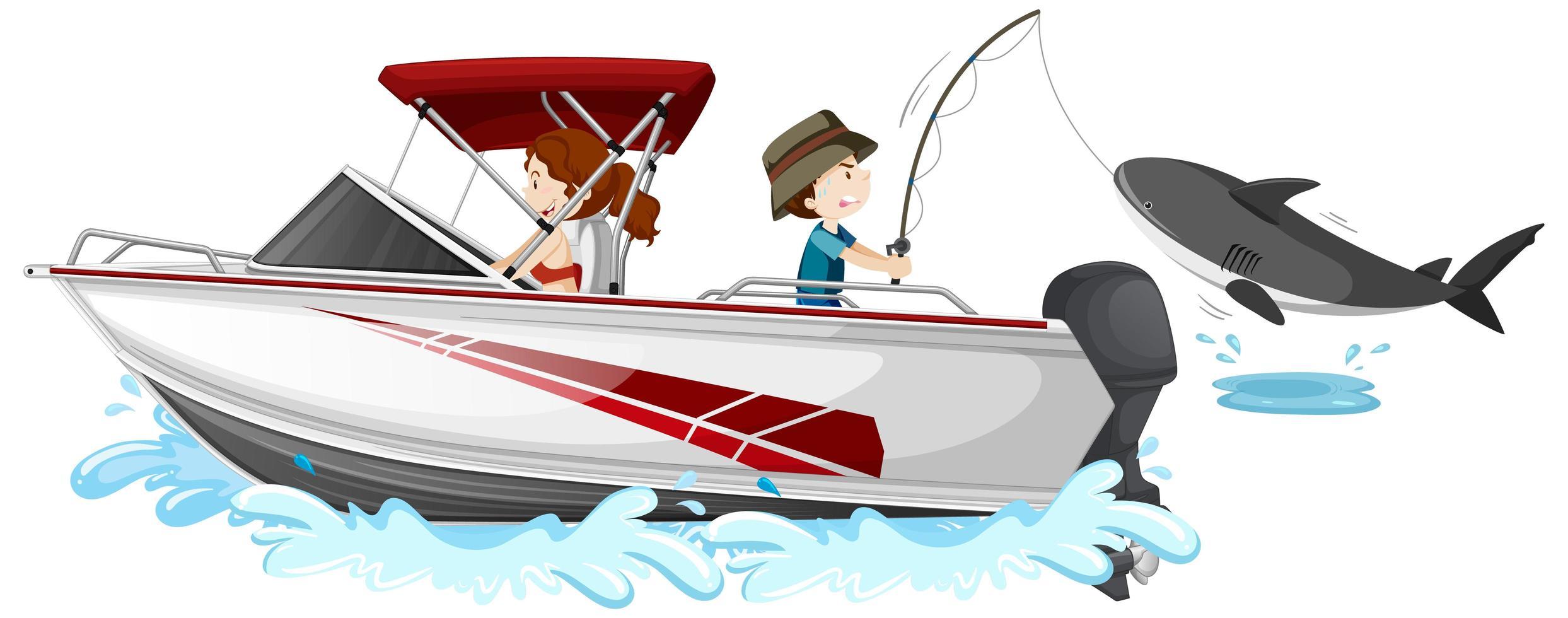 Los niños pescando en lancha rápida sobre fondo blanco. vector