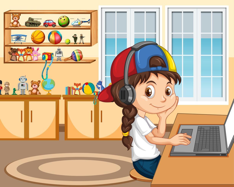 una niña se comunica por videoconferencia con amigos en la escena del hogar vector