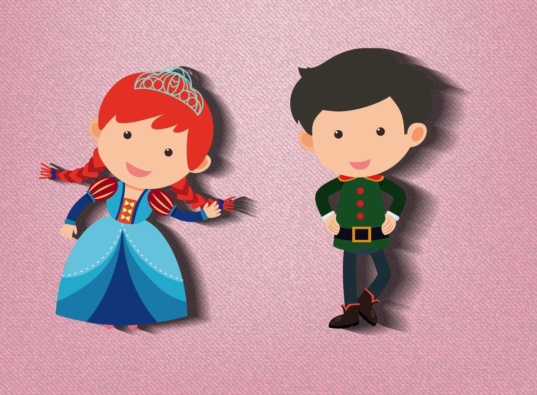 Pequeña princesa y personaje de dibujos animados de guardia sobre fondo rosa vector