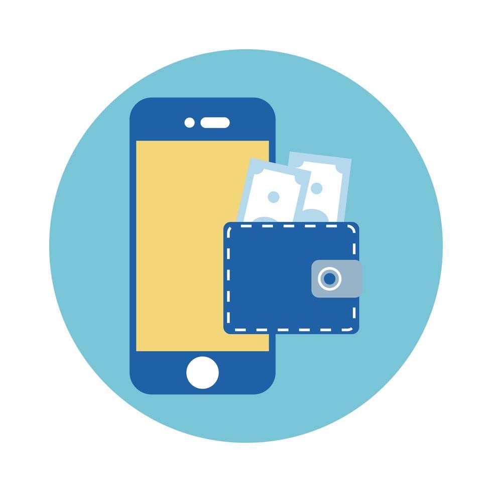 wallet with bills dollars in smartphone block style vector