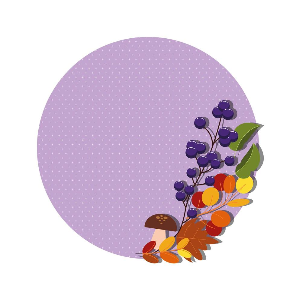 branches with autumn decorations vector
