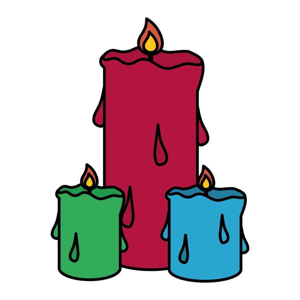 velas de parafina fuego iconos aislados vector