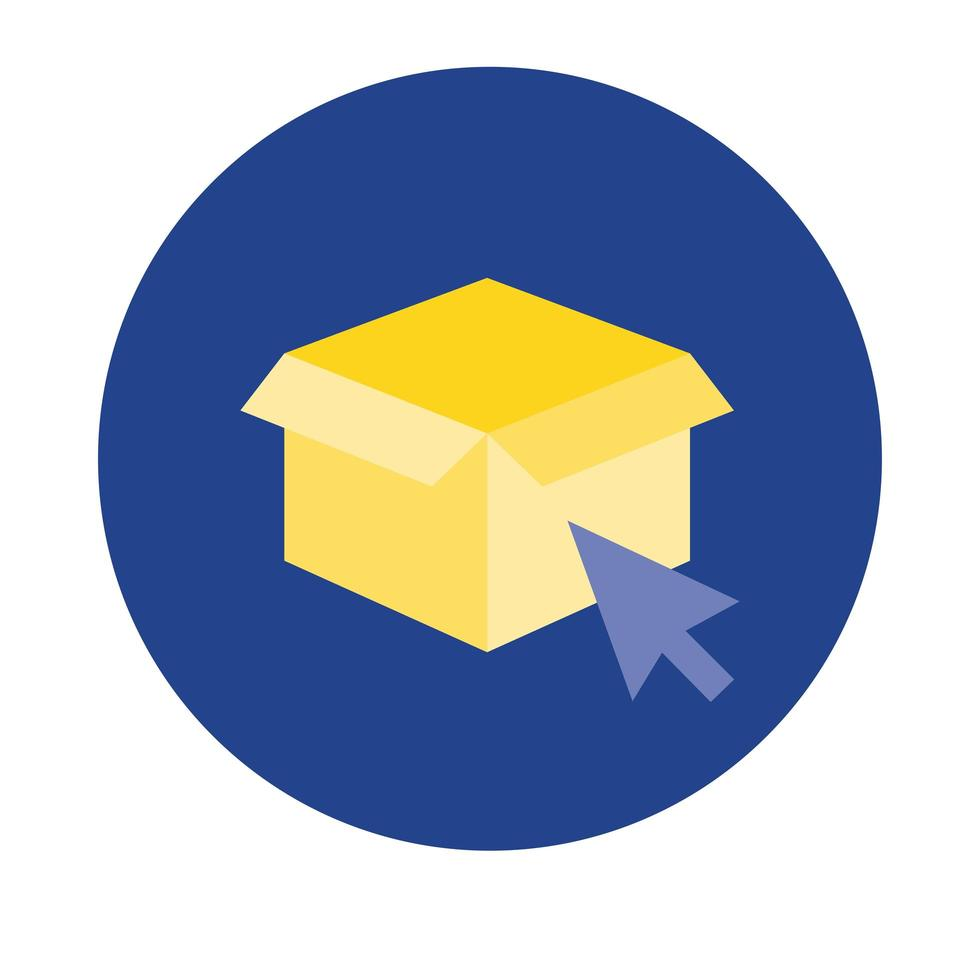 Entrega de caja de cartón con bloque de mouse de flecha y estilo plano vector