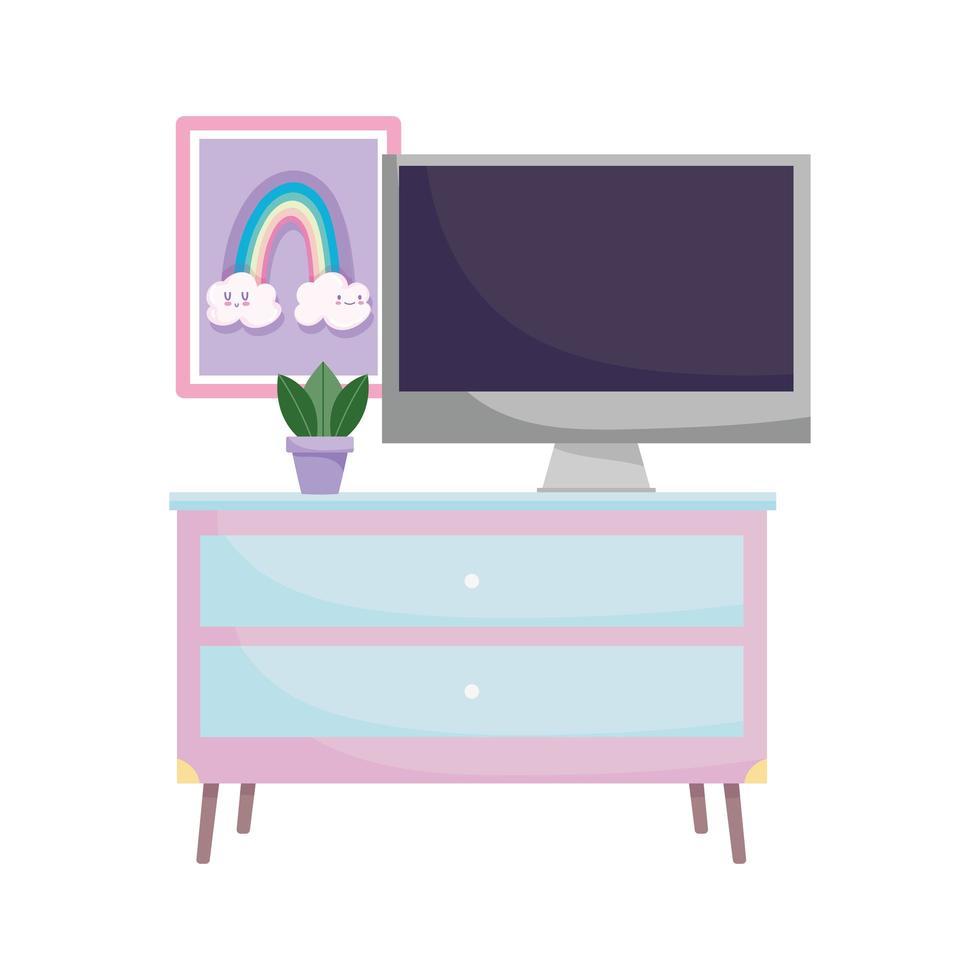 espacio de trabajo muebles planta de computadora y dibujado en la pared vector