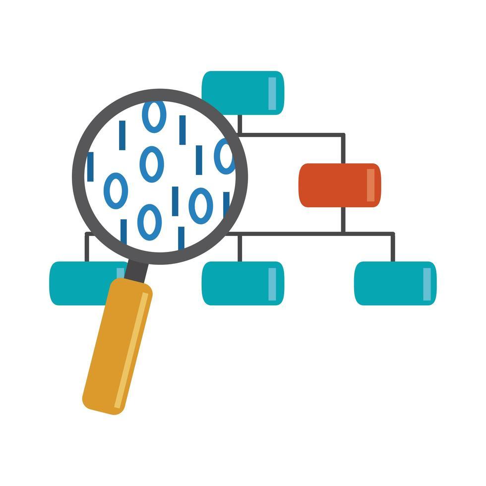 análisis de datos, organigrama, lupa, desarrollo, plano, icono vector