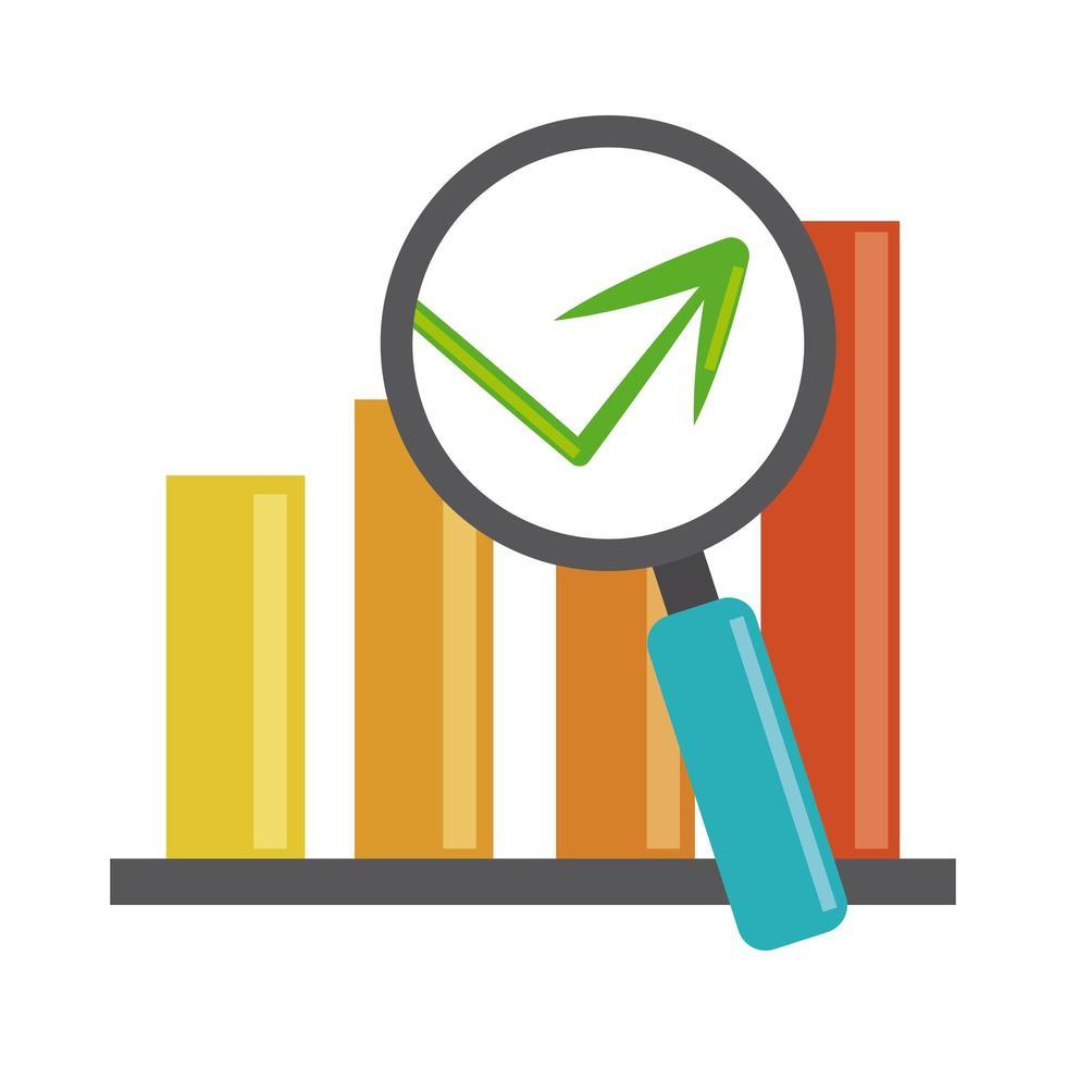análisis de datos, estadísticas flecha lupa finanzas economía lupa icono plano vector