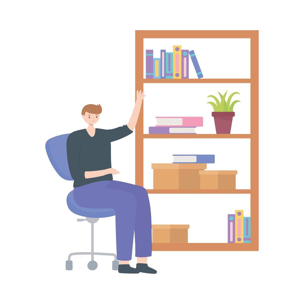 Hombre en la oficina con libros de estantería y espacio de trabajo fondo blanco. vector