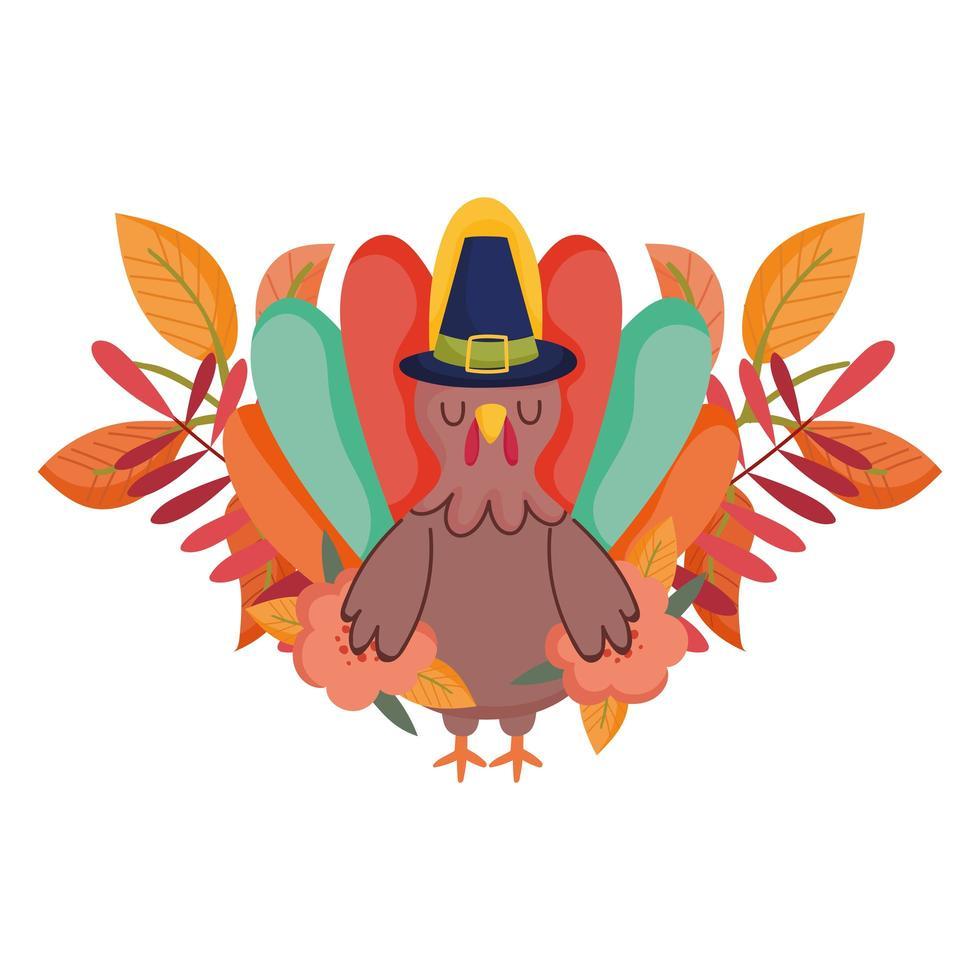 feliz día de acción de gracias, pavo con sombrero de peregrino celebración de follaje de flores vector