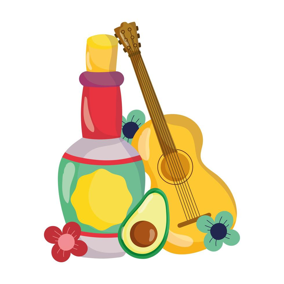 mexican independence day, guitar bottle tequila avocado flowers, viva mexico is celebrated in september vector