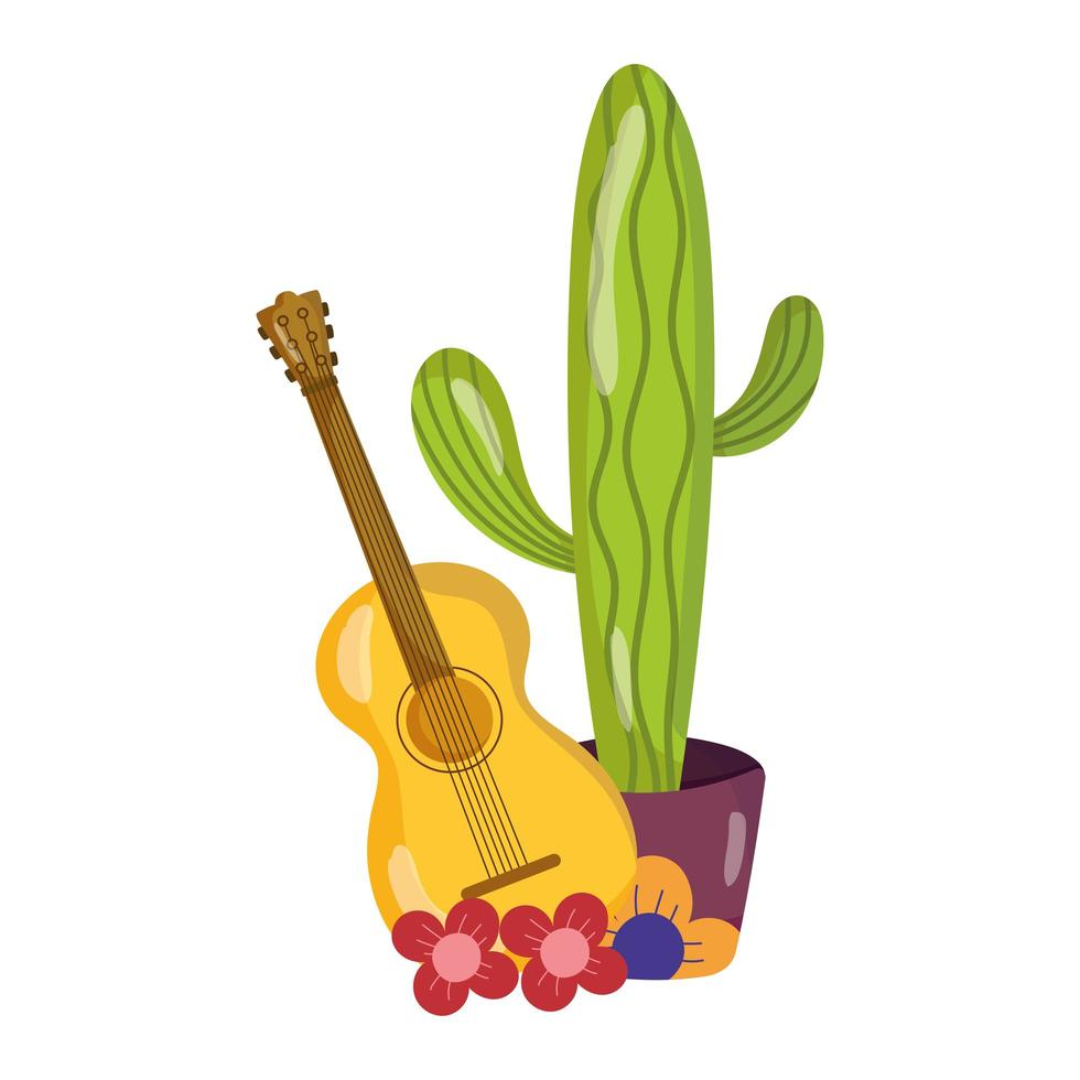 mexican independence day, guitar flowers and potted cactus, celebrated in september vector