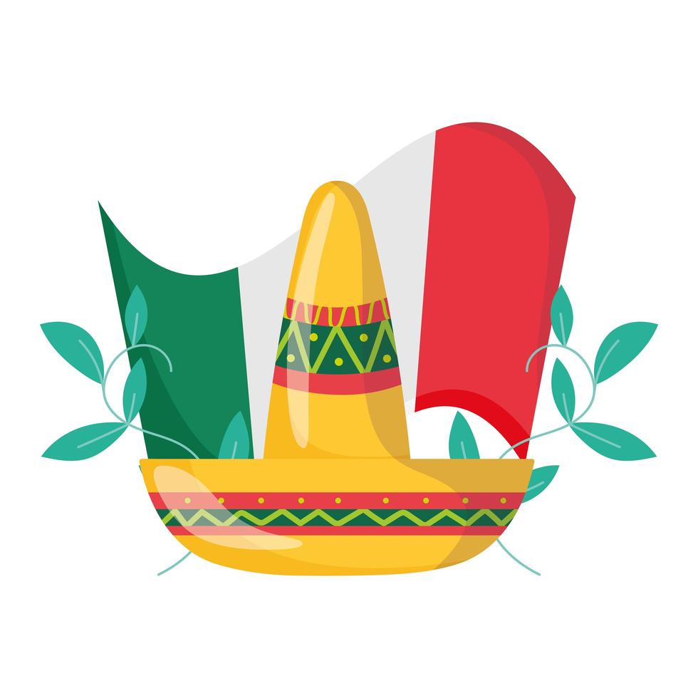 mexican independence day, hat and flag floral decoration, celebrated in september vector