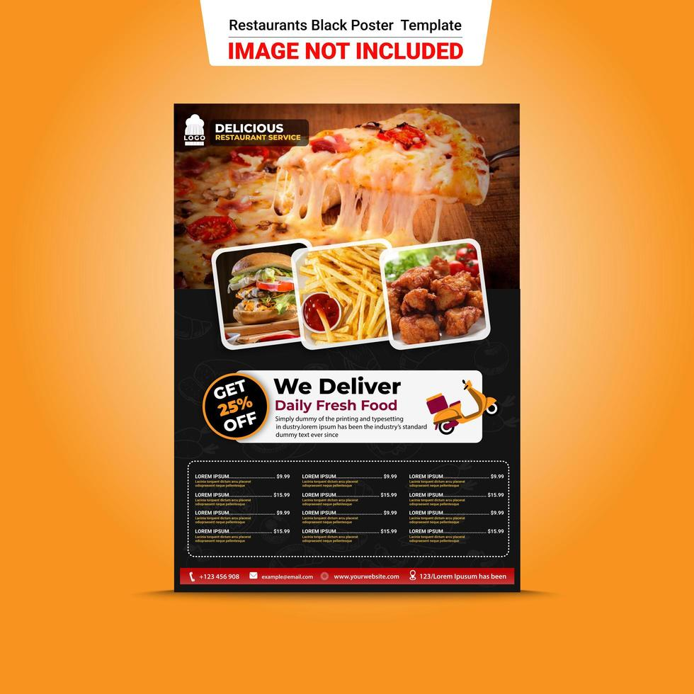 Restaurant Delivery Black Poster Template vector
