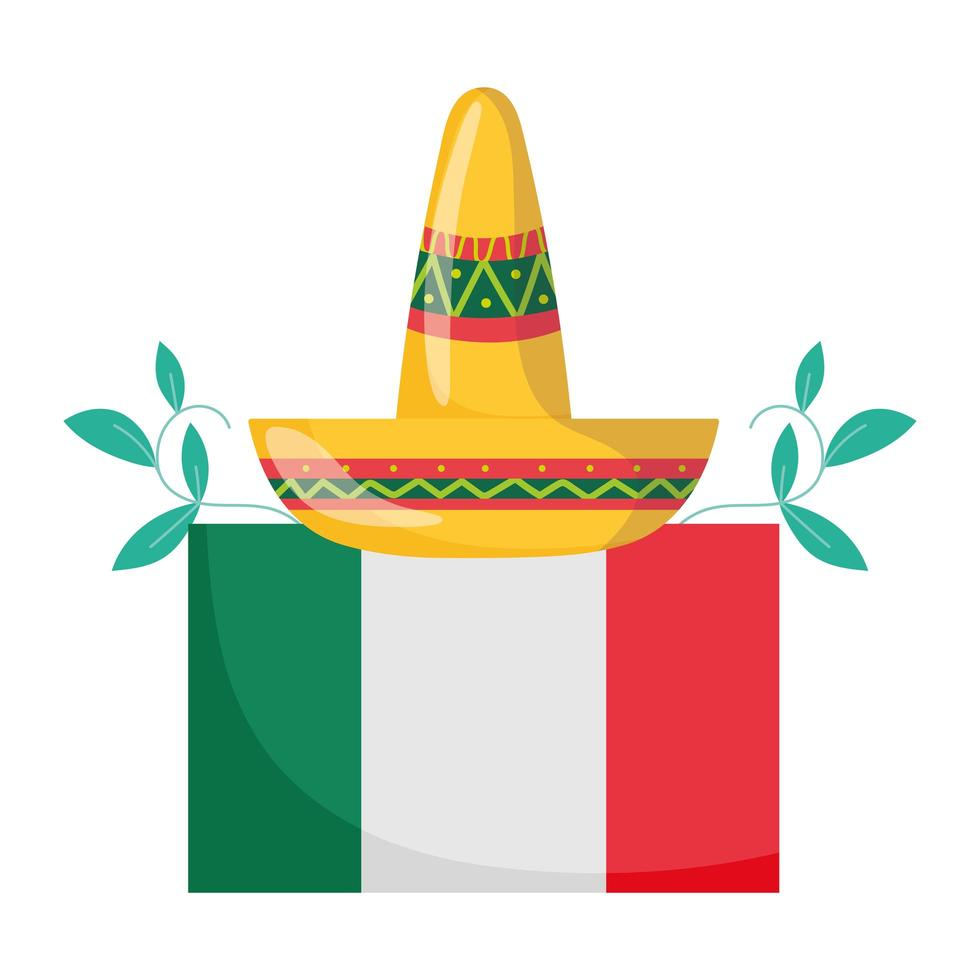 mexican independence day, hat flag floral decoration, viva mexico is celebrated in september vector