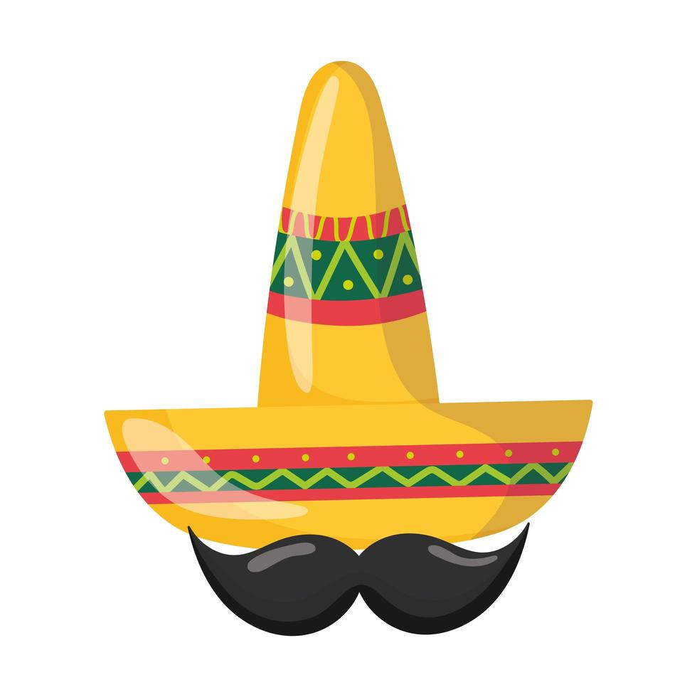 mexican independence day, moustache and traditional hat, celebrated in september vector