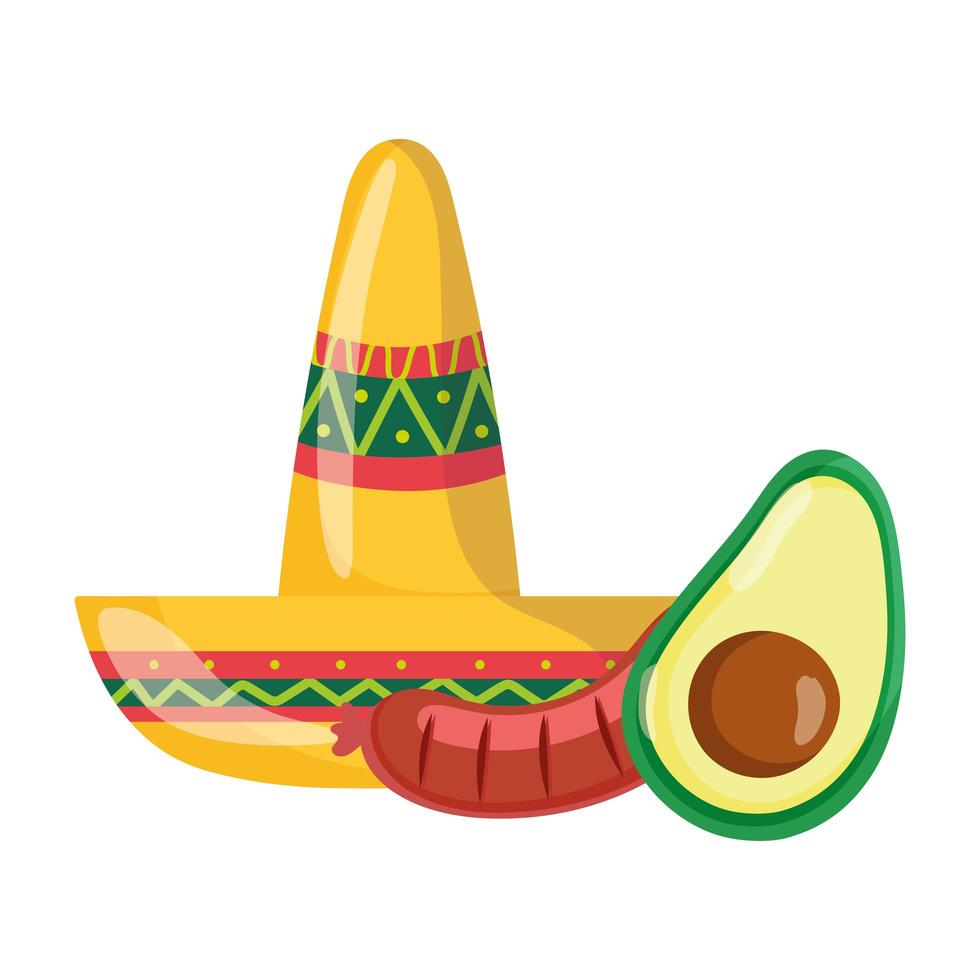 mexican independence day, mustache sausage and avocado, celebrated in september vector