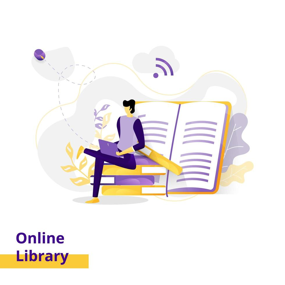 Landing page Illustration Online Library vector
