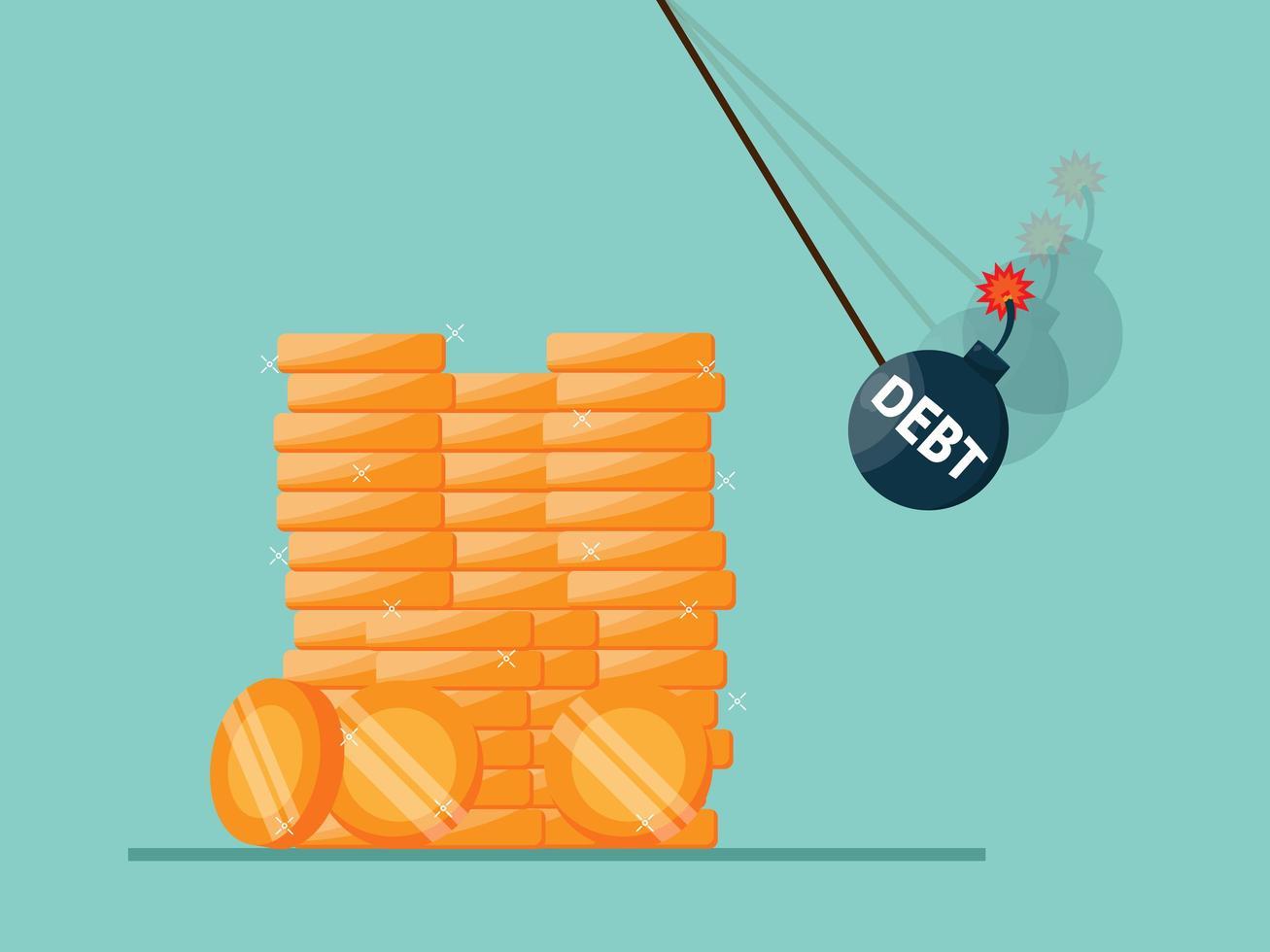 debt bomb destroys stack of money coins, economic crisis vector