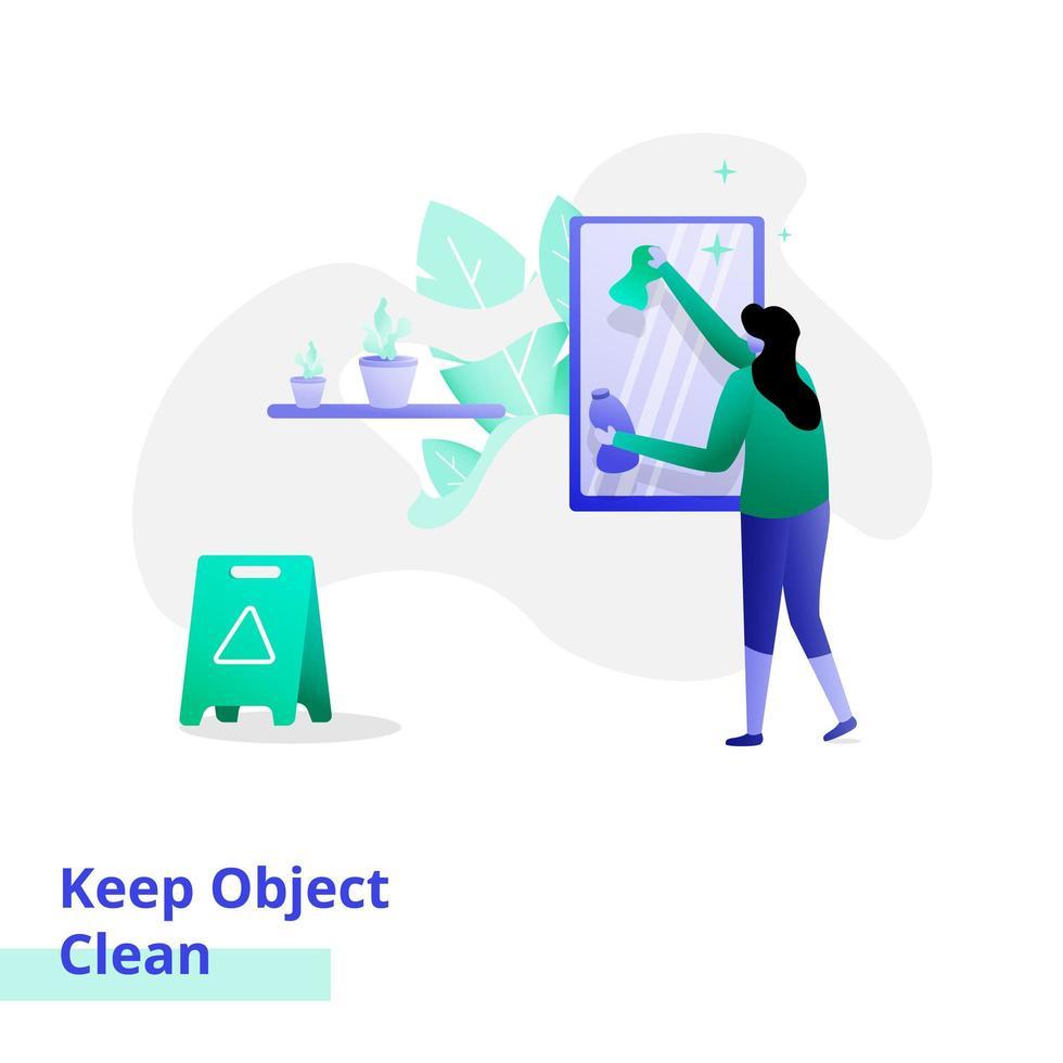 Ilustración de aterrizaje mantener limpio el objeto vector