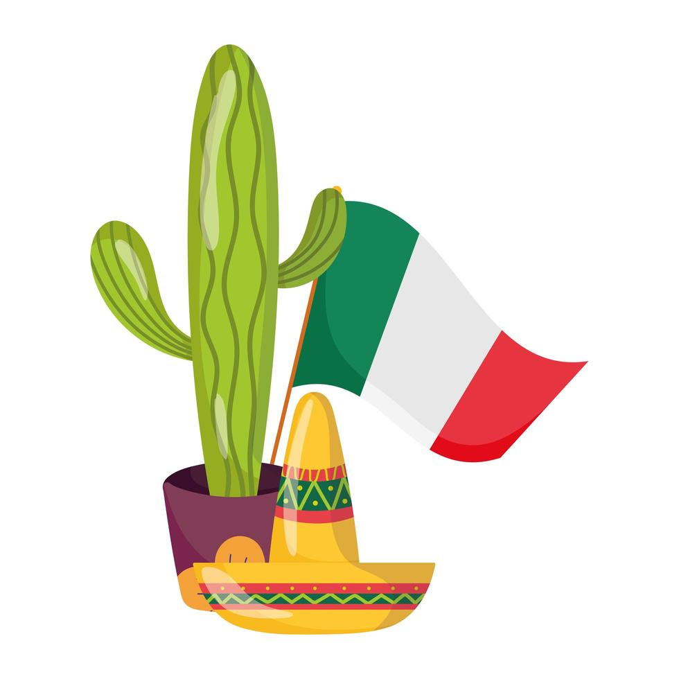mexican independence day, potted cactus hat and flag, celebrated in september vector