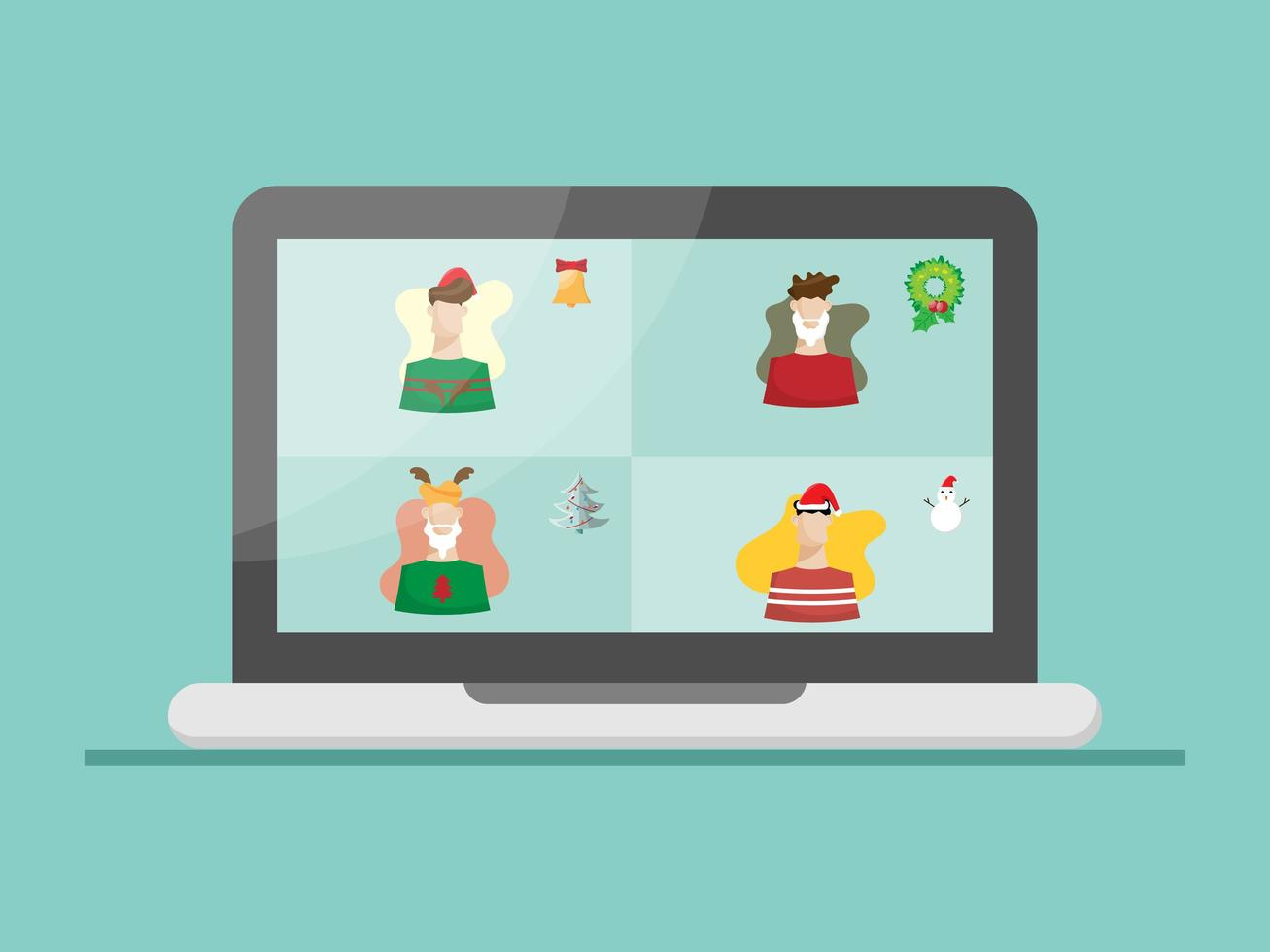 christmas on laptop with video conference vector