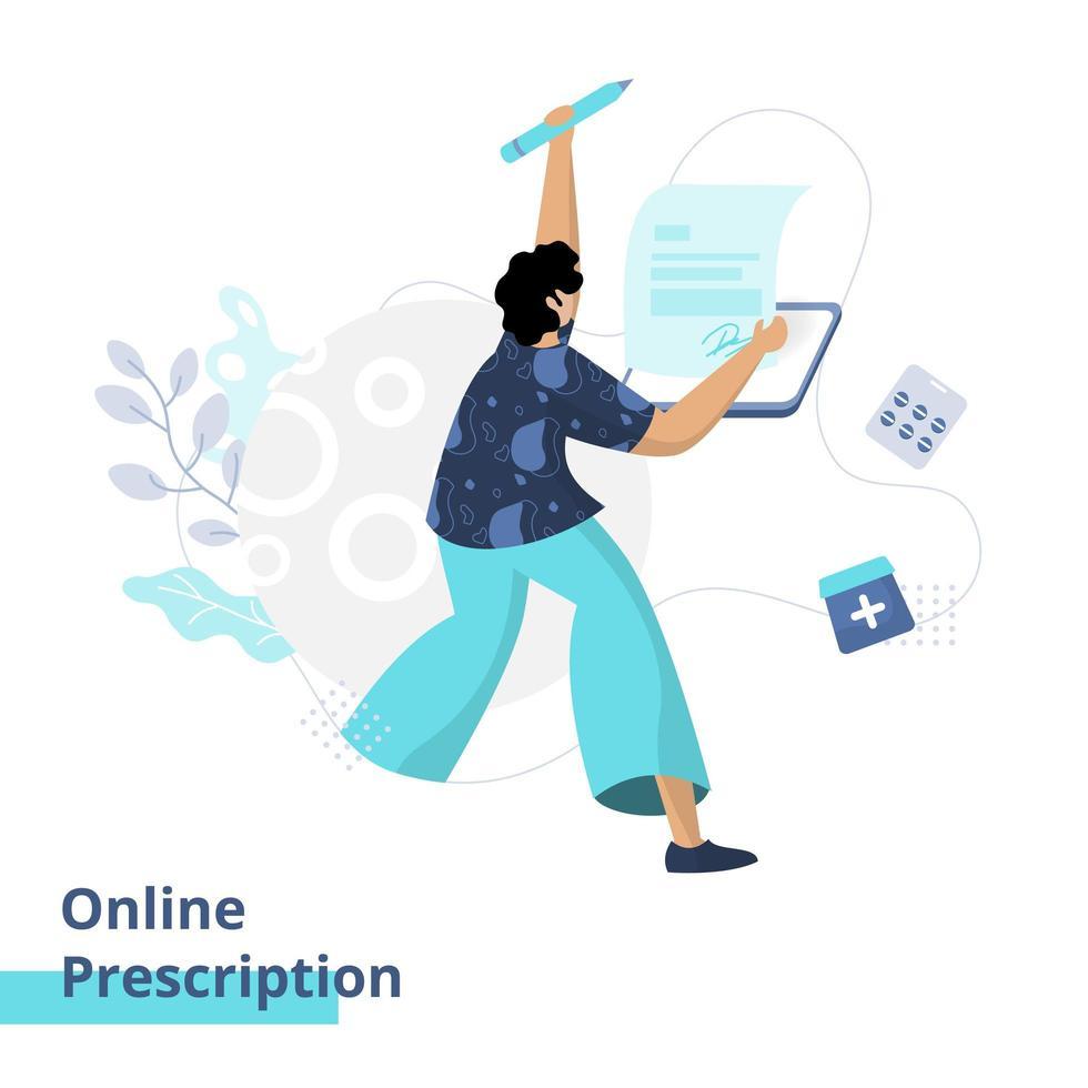 Flat illustration of Online Prescription vector